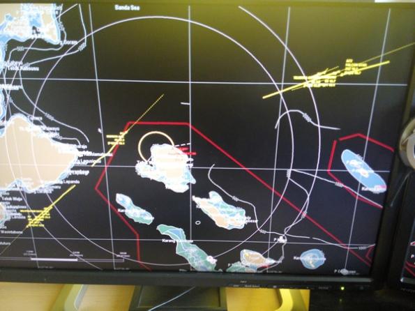 Tampilan radar pantai LPTK yang diaplikasikan dalam area konservasi